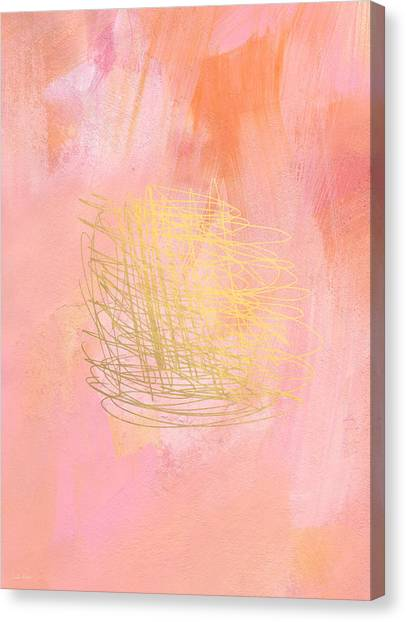 Gold Canvas Print - Nest- Pink And Gold Abstract Art by Linda Woods