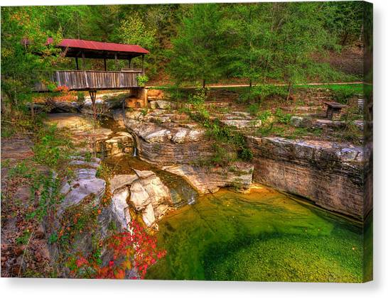 Canvas Print featuring the photograph Covered Bridge In Spring - Ponca Arkansas by Gregory Ballos