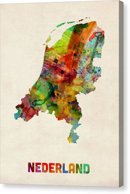 Urban Art Canvas Print - Netherlands Watercolor Map by Michael Tompsett