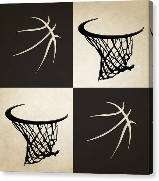 Brooklyn Nets Canvas Print - Nets Ball And Hoop by Joe Hamilton