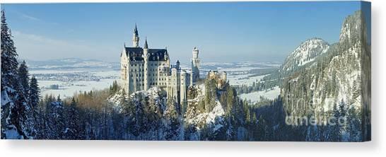 Neuschwanstein Castle Panorama In Winter 2 Canvas Print