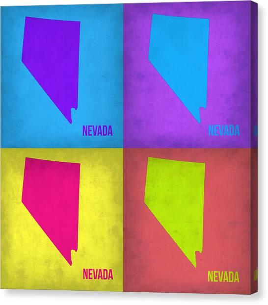 Nevada Canvas Print - Nevada Pop Art Map 1 by Naxart Studio