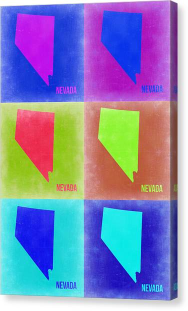 Nevada Canvas Print - Nevada Pop Art Map 2 by Naxart Studio