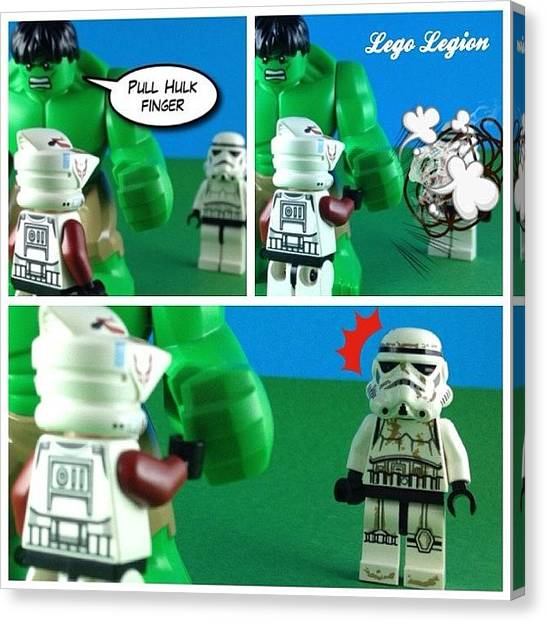 The Legion Canvas Print - Never Pull Hulks Finger! #legolegion by Lego Legion