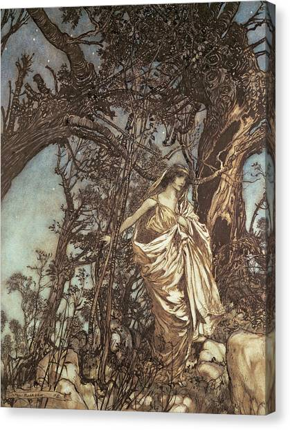 Shakespeare Canvas Print - Never So Weary Never So Woeful Illustration To A Midsummer Night S Dream by Arthur Rackham