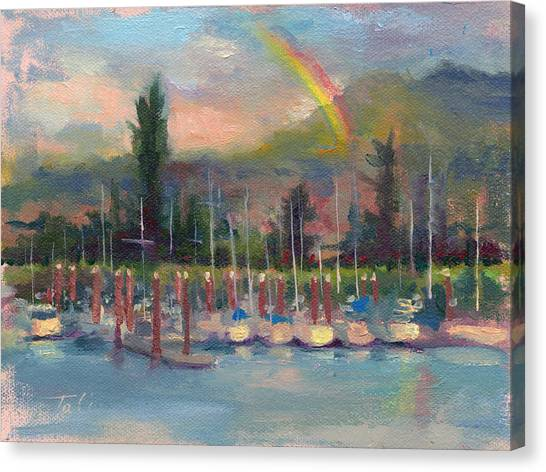 New Covenant - Rainbow Over Marina Canvas Print