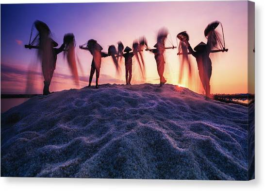 Vietnamese Canvas Print - New Day In The Salt Field by Nguyen Tan Tuan