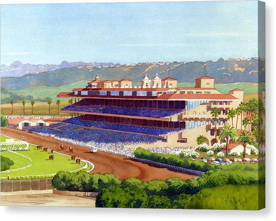 Race Horses Canvas Print - New Del Mar Racetrack by Mary Helmreich