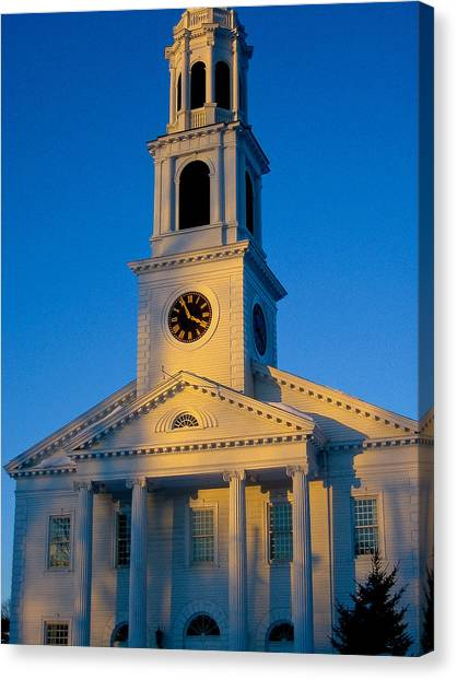New England Church Canvas Print by DustyFootPhotography