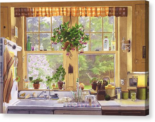 England Canvas Print - New England Kitchen Window by Mary Helmreich