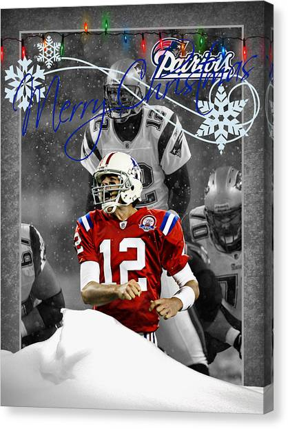 Tom Brady Canvas Print - New England Patriots Christmas Card by Joe Hamilton
