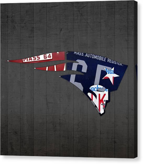 New England Patriots Canvas Print - New England Patriots Football Team Retro Logo Massachusetts License Plate Art by Design Turnpike