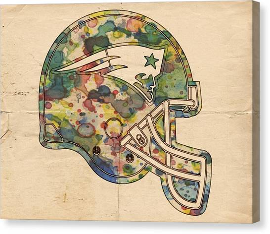 Patriot League Canvas Print - New England Patriots Helmet Art by Florian Rodarte