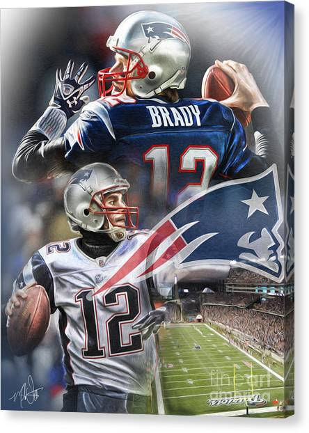 Tom Brady Canvas Print - New England Patriots by Mike Oulton