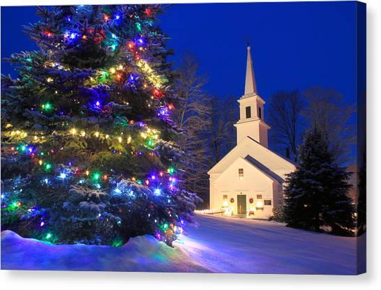 Marlow Canvas Print - New England Village Christmas Scene Marlow Nh by John Burk