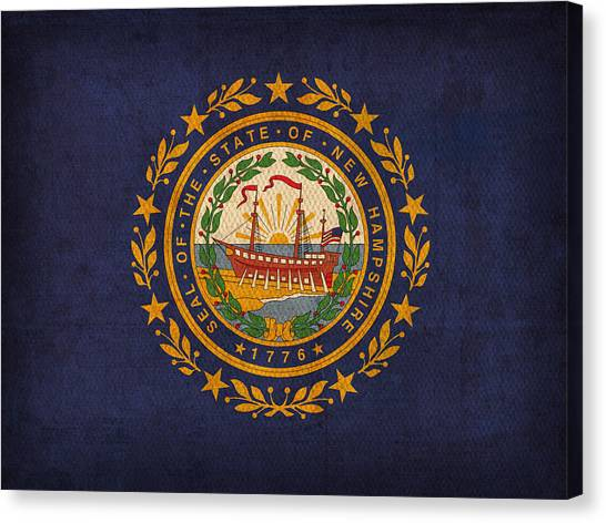 New Hampshire Canvas Print - New Hampshire State Flag Art On Worn Canvas by Design Turnpike