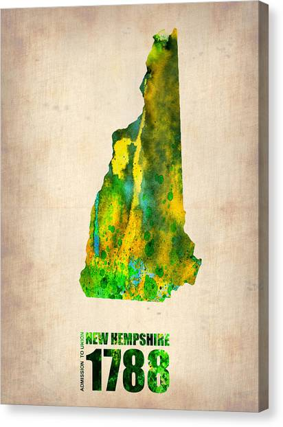 New Hampshire Canvas Print - New Hampshire Watercolor Map by Naxart Studio