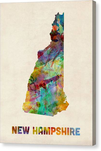 New Hampshire Canvas Print - New Hampshire Watercolor Map by Michael Tompsett