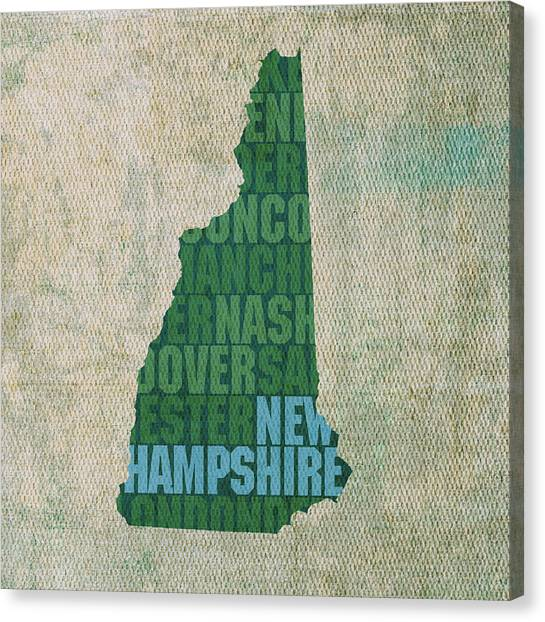 New Hampshire Canvas Print - New Hampshire Word Art State Map On Canvas by Design Turnpike