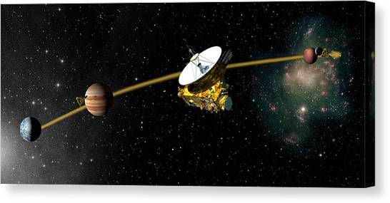 Pluto Canvas Print - New Horizons Spacecraft's Path To Pluto by Nasa/science Photo Library