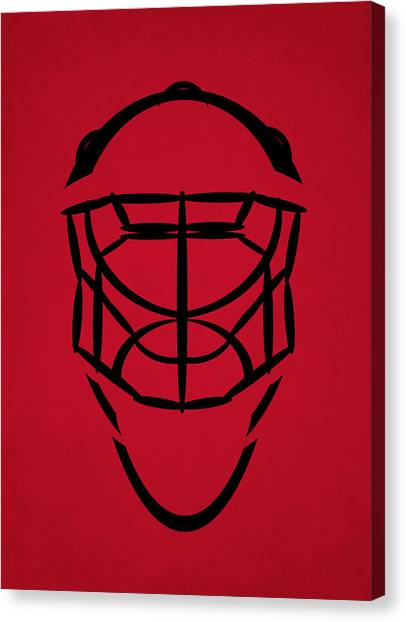 New Jersey Devils Canvas Print - New Jersey Devils Goalie Mask by Joe Hamilton