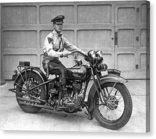New Jersey Motorcycle Trooper Canvas Print