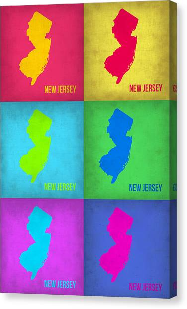 New Jersey Canvas Print - New Jersey Pop Art Map 1 by Naxart Studio
