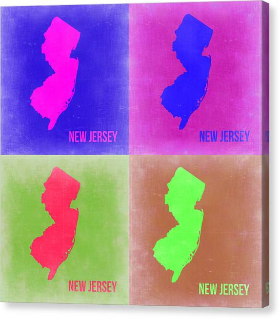 Jerseys Canvas Print - New Jersey Pop Art Map 2 by Naxart Studio