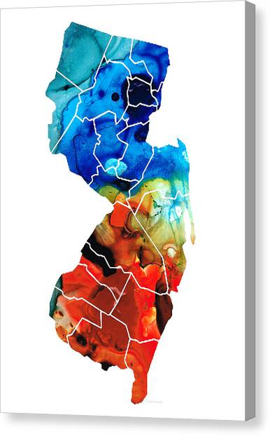 New Jersey Devils Canvas Print - New Jersey - State Map By Sharon Cummings by Sharon Cummings