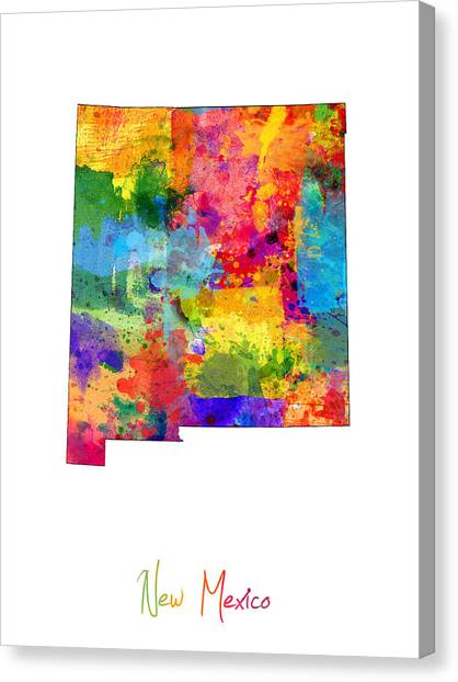 New Mexico Map Canvas Print - New Mexico Map by Michael Tompsett