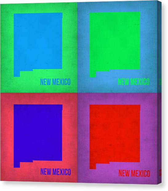 New Mexico Canvas Print - New Mexico Pop Art Map 1 by Naxart Studio