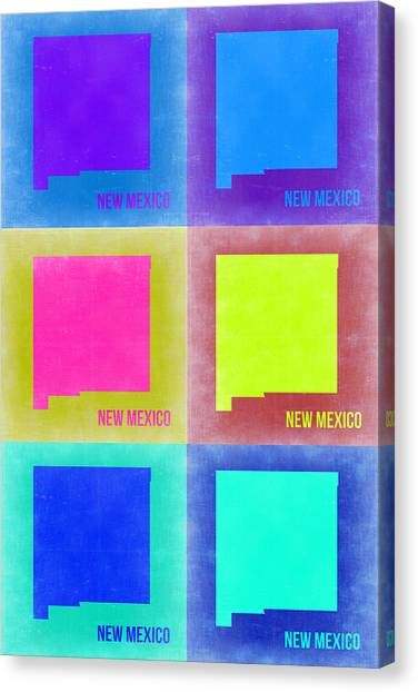 Mexican Canvas Print - New Mexico Pop Art Map 2 by Naxart Studio