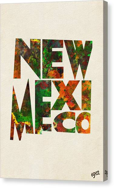New Mexico Map Canvas Print - New Mexico Typographic Watercolor Map by Inspirowl Design