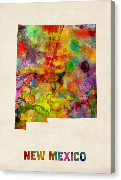 New Mexico Map Canvas Print - New Mexico Watercolor Map by Michael Tompsett