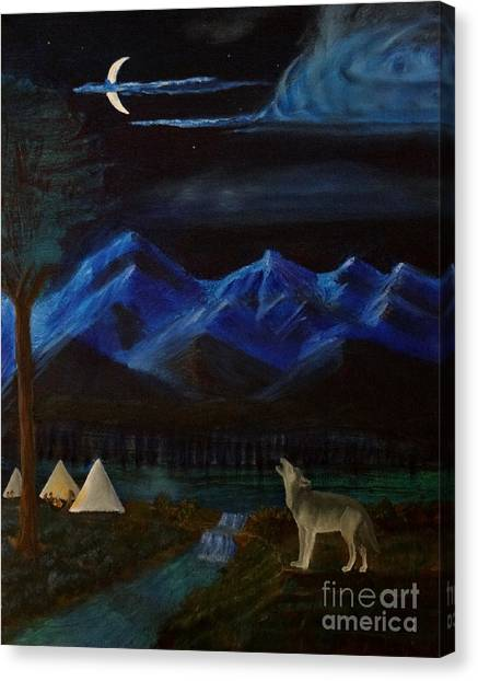 New Moon Howling Canvas Print by Stephen Schaps