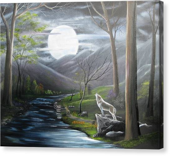 Howling Wolves Canvas Print - New Moon by RJ McNall