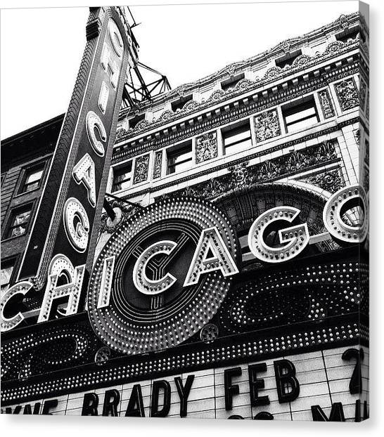 Architecture Canvas Print - Chicago Theatre Sign Black And White Photo by Paul Velgos