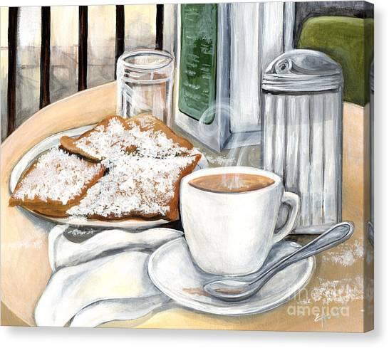 Doughnut Canvas Print - New Orleans Cafe Du Monde by Elaine Hodges