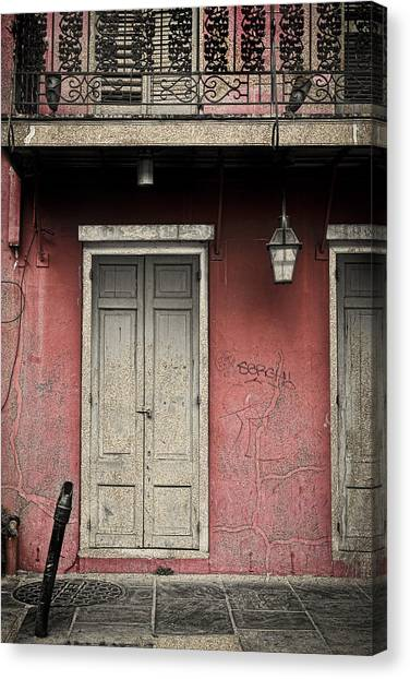 New Orleans French Quarter Balcony And Doorway Canvas Print by Ray Devlin