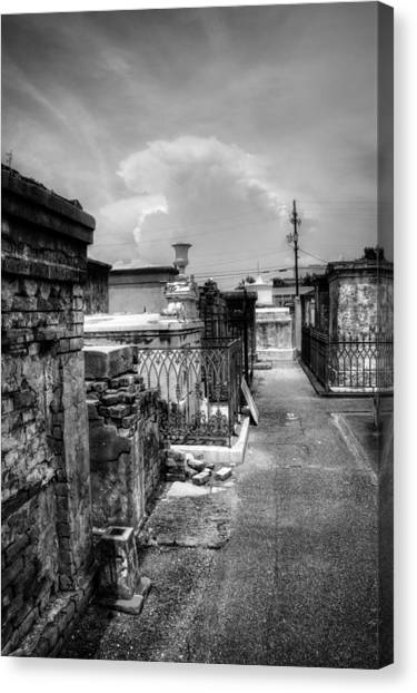 New Orleans Graveyard In Black And White Canvas Print