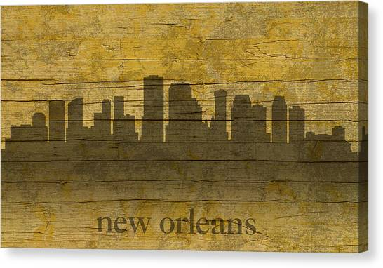 Mardi Gras Canvas Print - New Orleans Louisiana Skyline Silhouette Distressed On Worn Peeling Wood by Design Turnpike