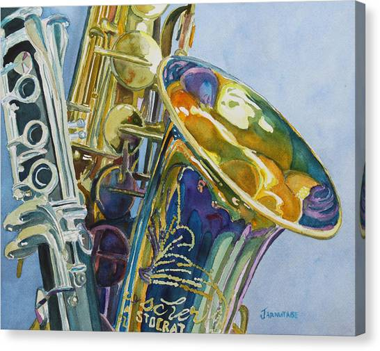 Saxophones Canvas Print - New Orleans Reeds by Jenny Armitage