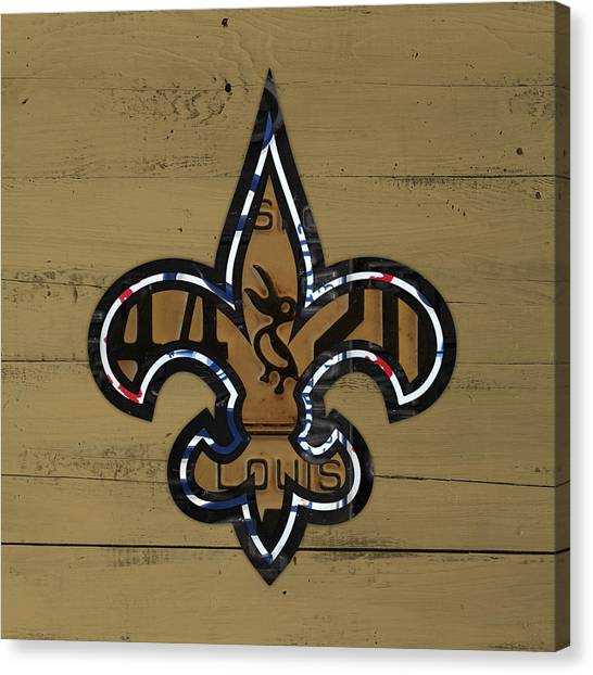 New Orleans Saints Canvas Print - New Orleans Saints Football Team Retro Logo Louisiana License Plate Art by Design Turnpike