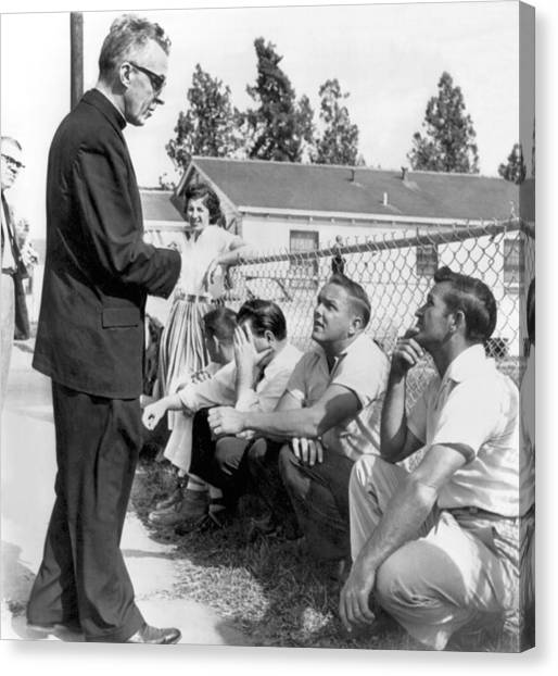 Chain Link Fence Canvas Print - New Orleans School Integration by Underwood Archives