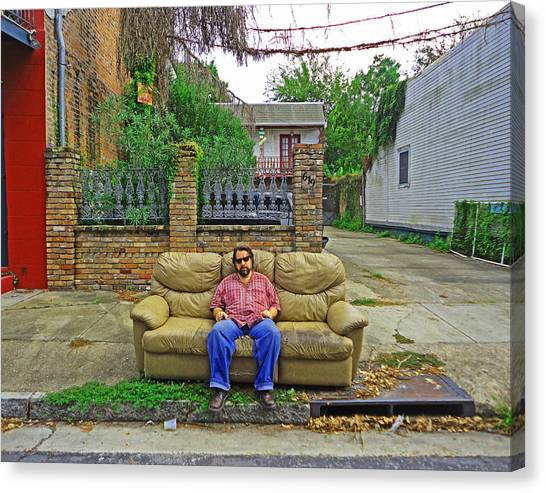 New Orleans Street Couch Canvas Print