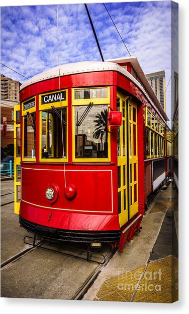 Trolley Canvas Print - New Orleans Streetcar  by Paul Velgos