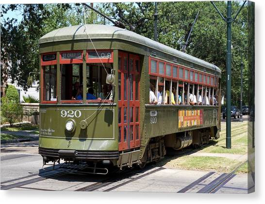 Light Rail Canvas Print - New Orleans Streetcar by Photostock-israel