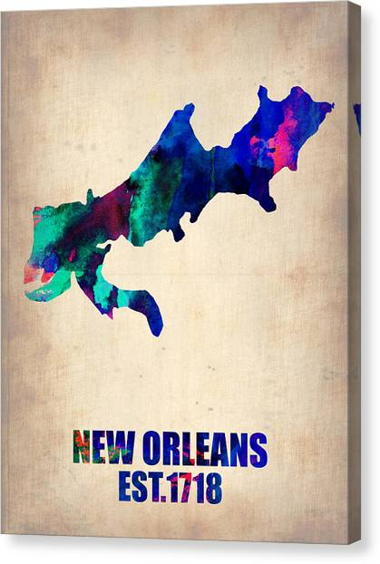 New Orleans Canvas Print - New Orleans Watercolor Map by Naxart Studio