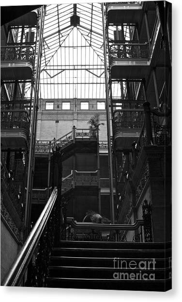 Bladerunner Canvas Print - Interior Study In Black And White Of  The Bradbury Building Downtown La by Toula Mavridou-Messer
