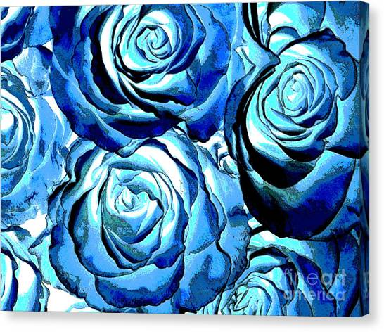 Pop Art Blue Roses Canvas Print